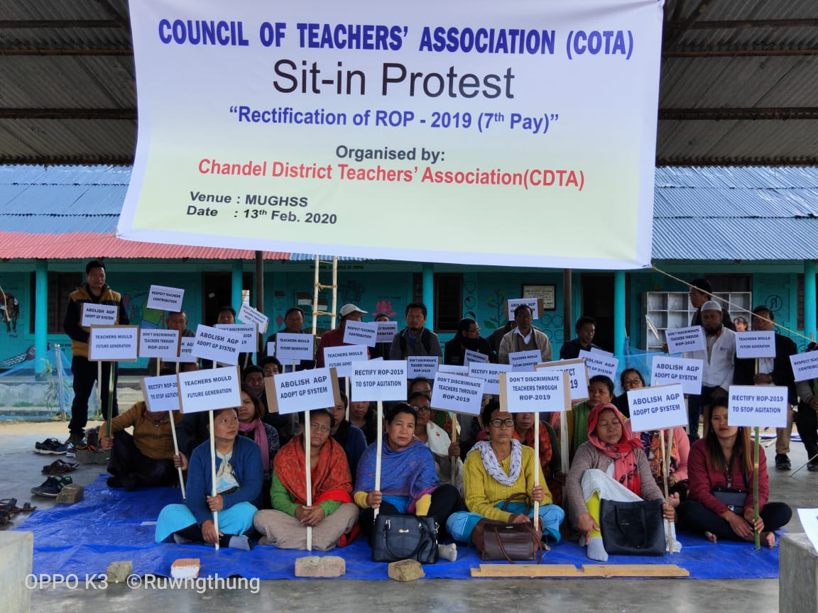 Teachers organise sit-in-protest in Chandel