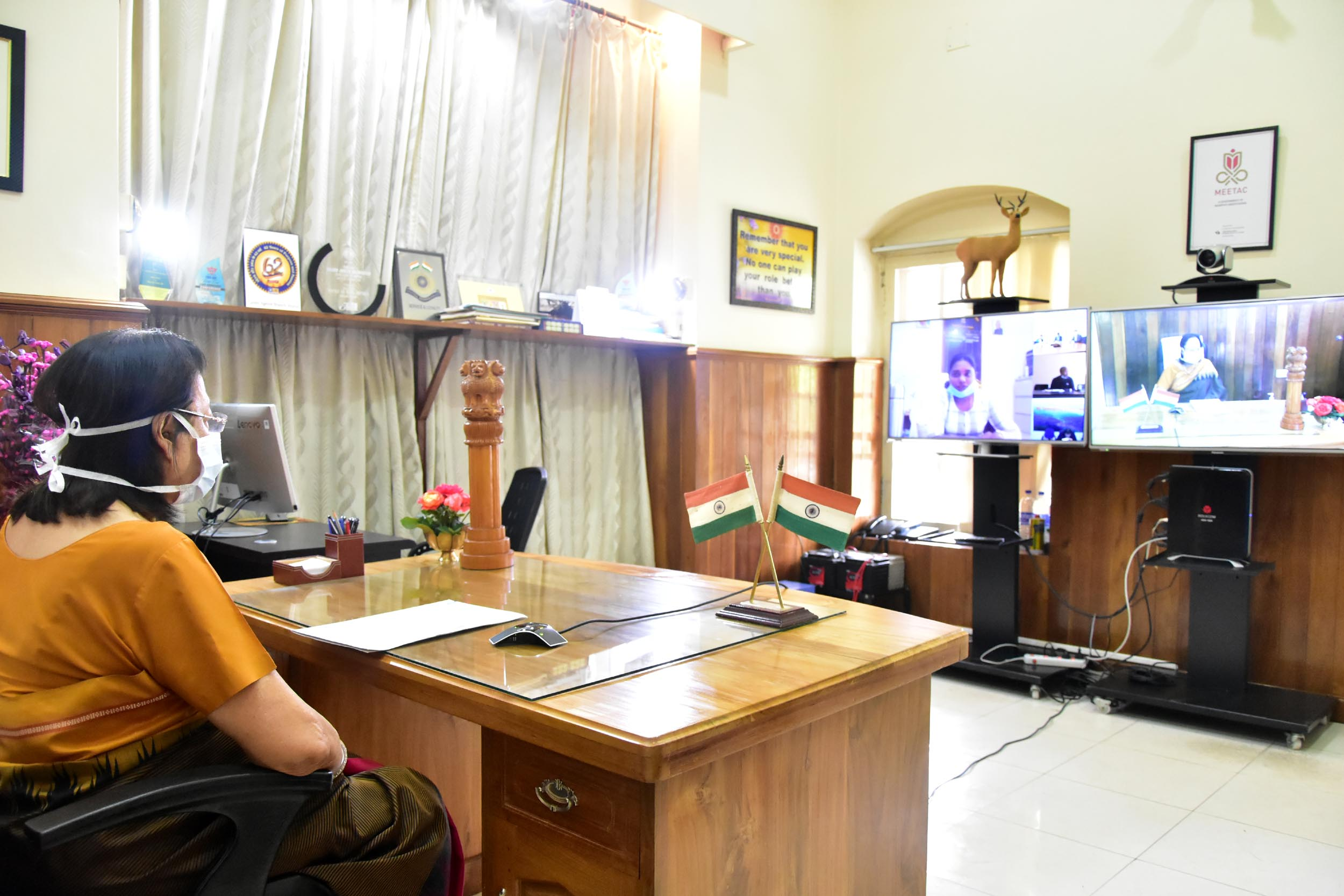 Guv Dr. Najma lauds district administration officials during Live video conference