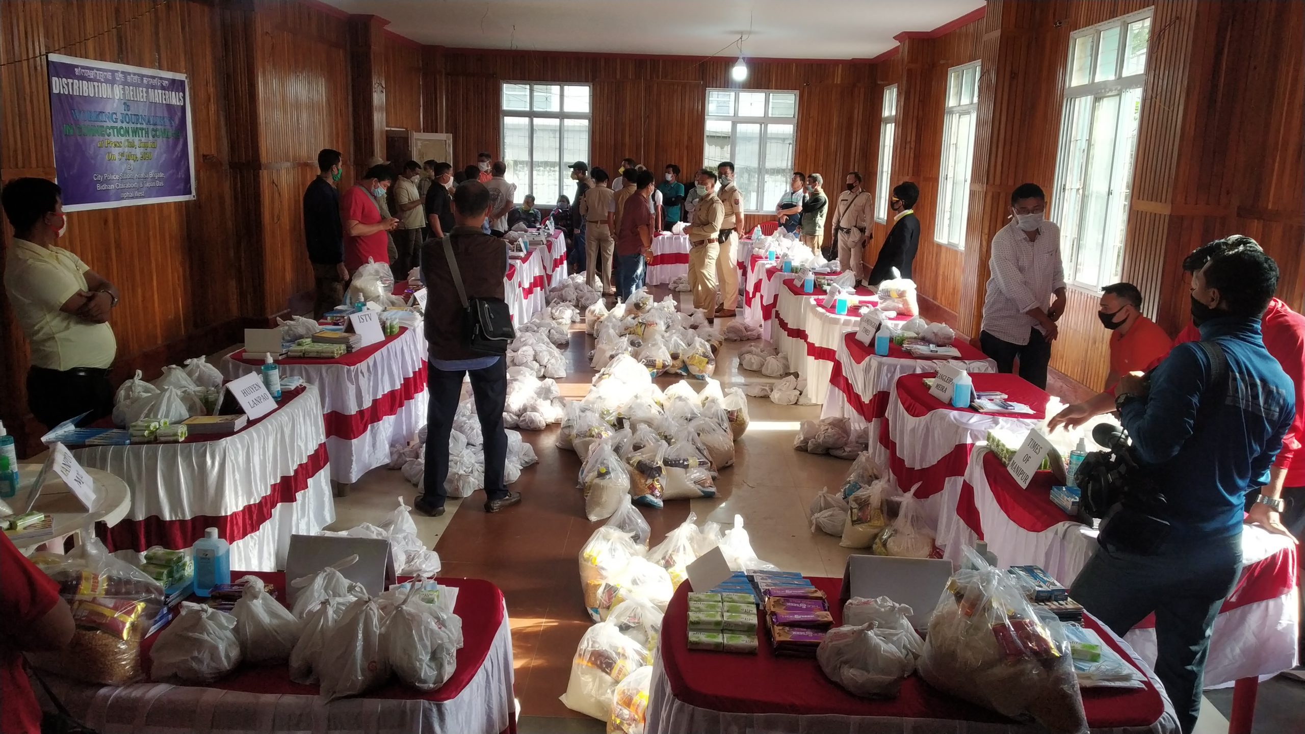 Relief materials distributes to working journalists