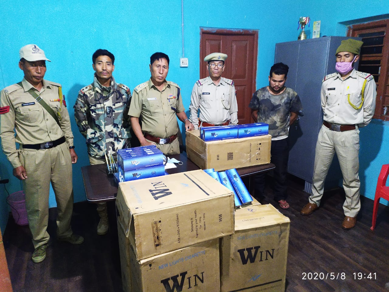 Smuggled packets of WIN cigarette seized