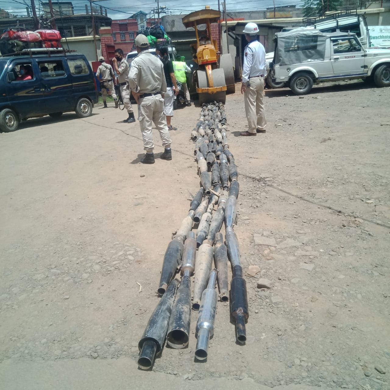 Churachandpur Traffic Police destroys 90 modified silencer pipes