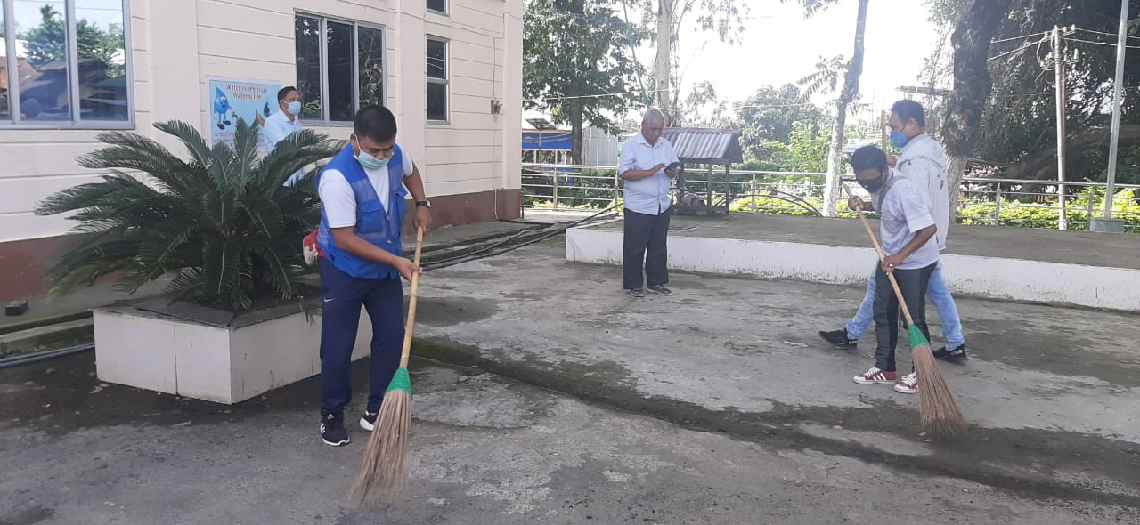 Bishnupur District Hospital cleaned, disinfectants sprayed in hospital compound