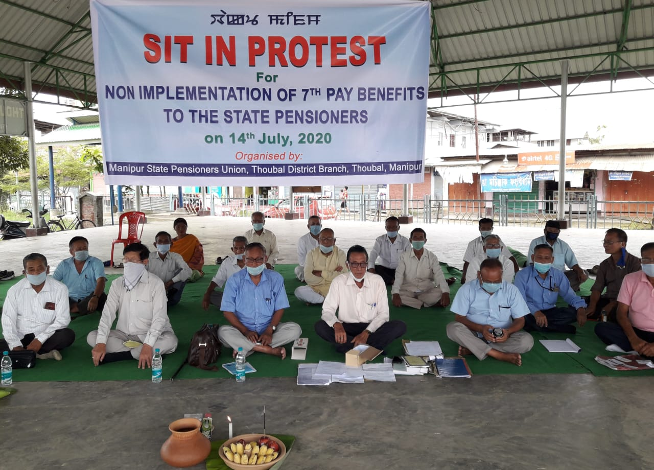 Pensioners staged sit-in -protests at Thoubal