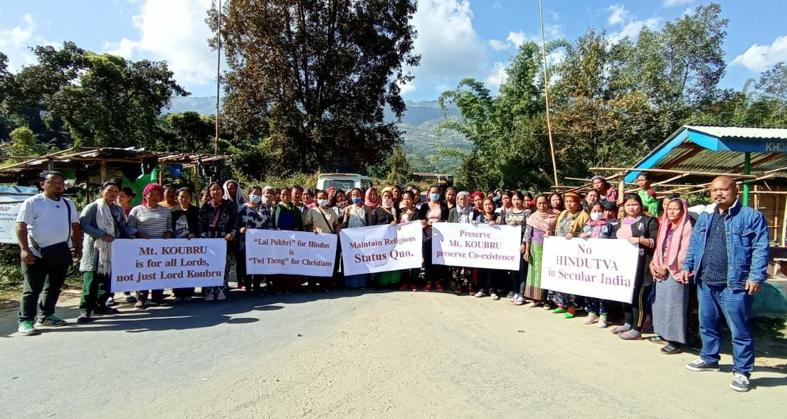 <strong>Protest held against propose laying of foundation stone at Mt. Koubru </strong>